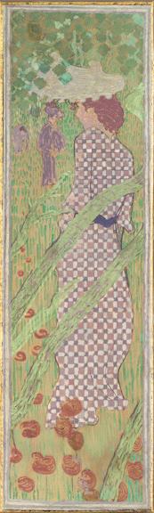 bonnard women in the garden woman in checkered dress
